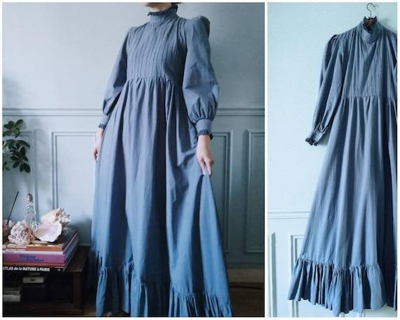70's Blue Cotton Prairie Dress