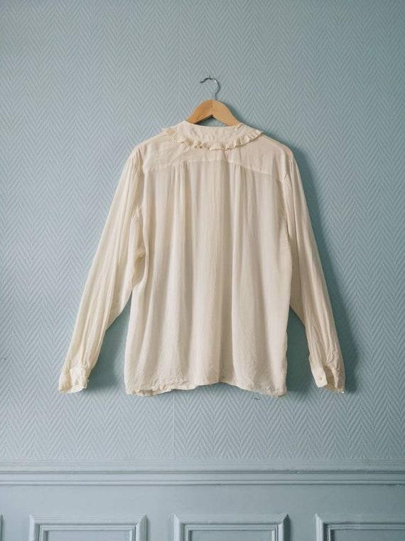 70's Ecru Silk Mix Statement Collar Blouse - image 8