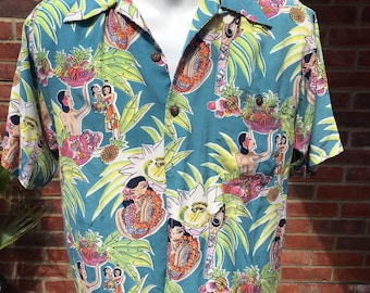 2220b22ea Avanti Hawaiian pin-up Silk mens shirt