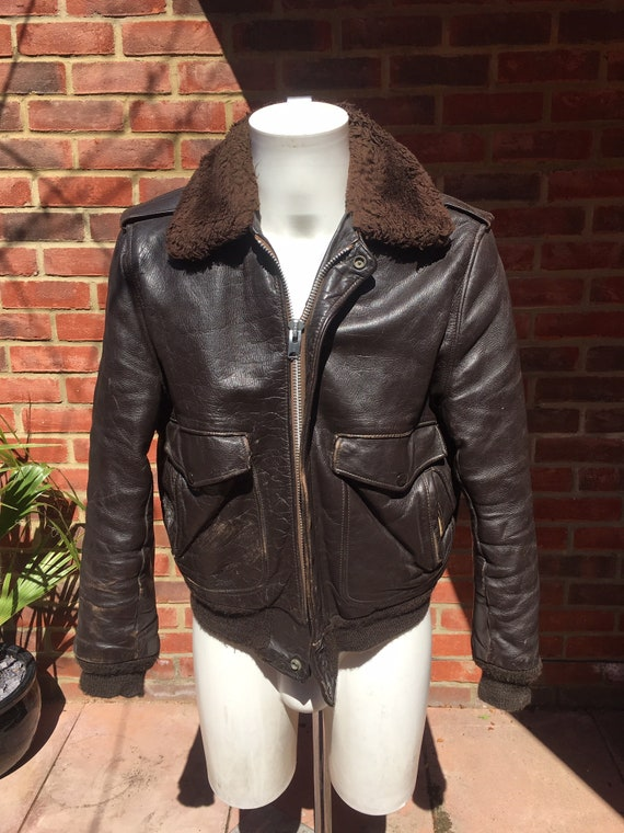 Mens Vintage 40s Leather Flight Jacket with fur co