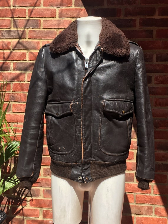 Mens Vintage Leather Flight Jacket with fur collar