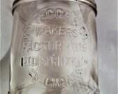 Rare Cigar Jar, embossed quot Wm Tegge Co, Factory 319, 1st District, Mich, 25 Cigars quot . Jar
