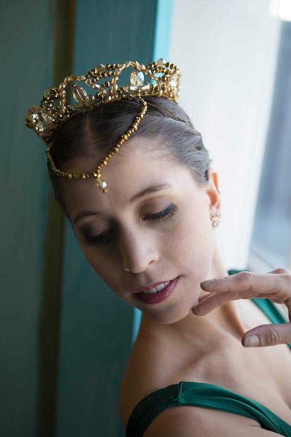 Ballet Headpiece Tiara Golden /& Amber