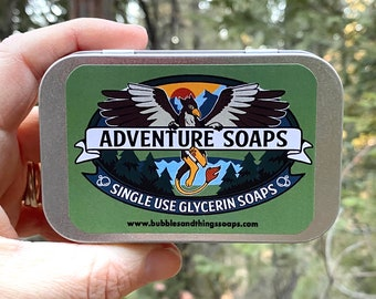 Adventure Soaps! - Single Use Soaps - Soaps To Go For Travel, Camping, Outdoors, School; Reusable Travel Box Eco Friendly Handmade Soap