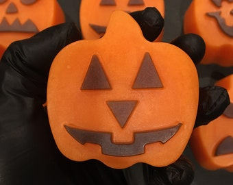 Jack 'o Lantern Pumpkin Soap - Scented Glycerin Soap; Fun Halloween Fall Harvest Soap for Kids and Adults