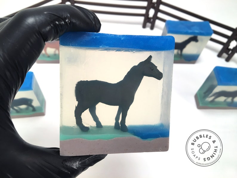 Horse Soap  Glycerin Soap with a Toy Horse image 0