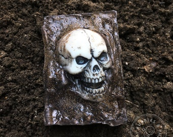 Shallow Grave Skull Soap -  Scented Glycerin Skull in Grave Soap for Horror Fans; Halloween Anatomical Soap