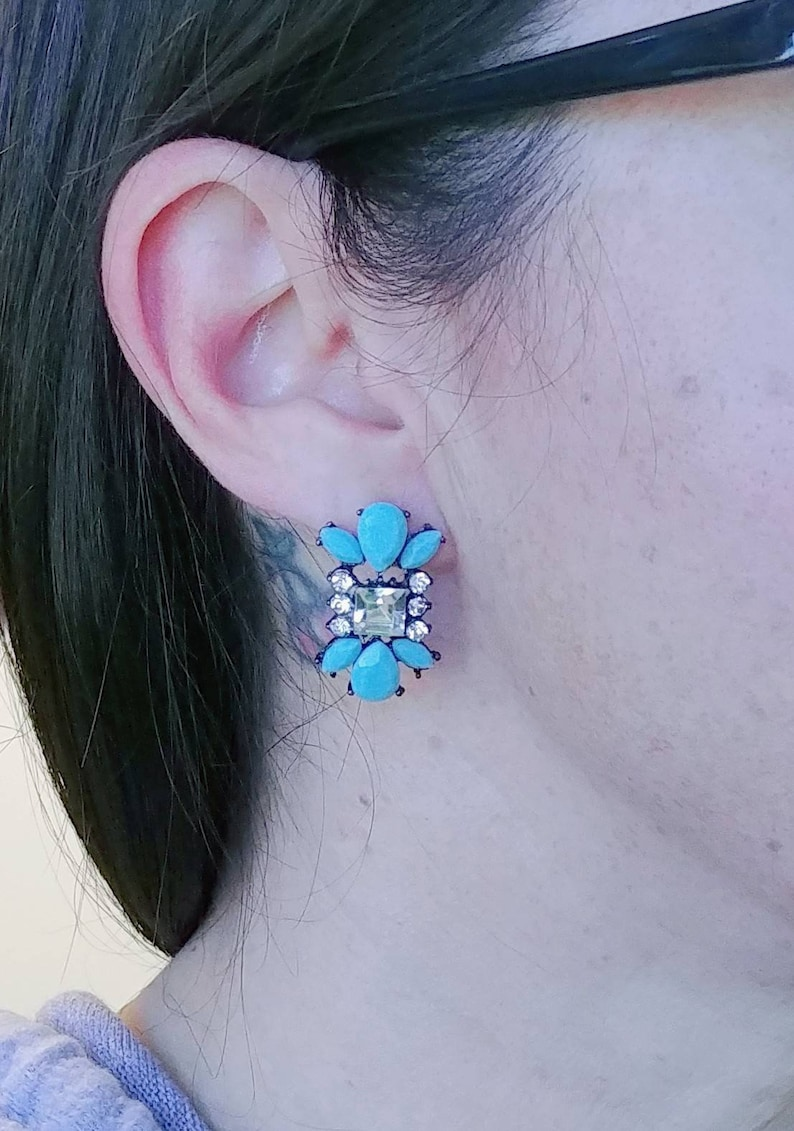 Art Deco Rhinestone and Faux Turquoise Pewter Toned Vintage Silver Estate Post Earrings