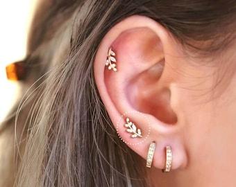 b9f2df2e9 Leaf Stud Earrings, Leaf Shaped Earrings, Dainty earrings,Tiny leaf studs,  Minimalist studs Second hole Silver earrings Piercing earrings