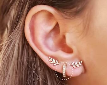 Fashion Silver Leaf oreille poignets grimpeur Stud Femmes Dainty feuilles PETITES tiny