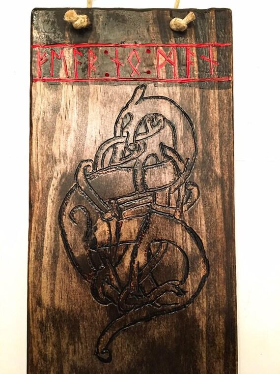 b89f57454 Norse Knot Fenrir / Fenris wolf Wall Plaque / Wall Hanger. | Etsy