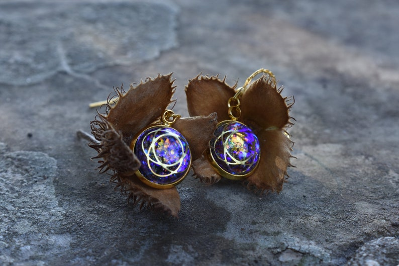 MAGICAL UNIVERSE EARRINGS Galaxy Gold Drop Earrings Outer Space Dangle Earrings Fantasy Celestial Jewelry Moon Constellation Christmas Gift