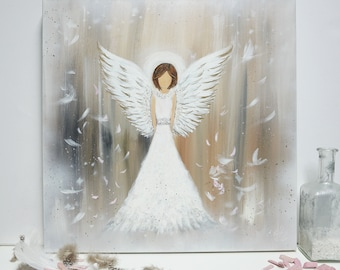 ENGEL painting, acrylic painting, textured painting, gold, angel figure hand painted, canvas on stretcher, unique, original Elsa white bekolli