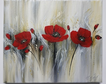 Sweet Poppies, Poppies Acrylic Painting, Flower Painting, Red Flowers, Hand Painted, Unique, Canvas on Canvas, Original Elsa Weiss Bekolli,