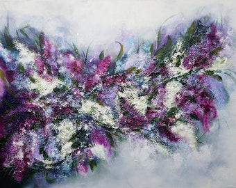 Canvas Painting Lilac, Structure Painting, Modern Flower Painting, Floral Acrylic Painting, Hand Painted, Unique, Original Elsa Weiss Bekolli