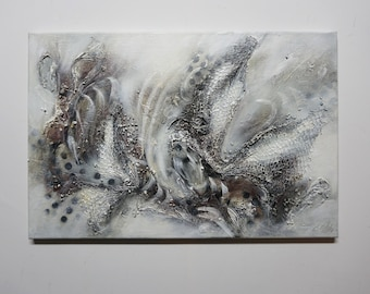 Modern Structure Picture, Acrylic Painting on Canvas, Abstract, Net Structure, Modern Art, Hand Painted, Unique, Original Elsa White Bekolli