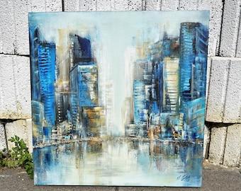 Blue City, Acrylic Painting, Urban Landscape Painted, Acrylic Painting, Canvas on Stretcher, Hand Painted,UNIKAT, Original Elsa Weiss Bekolli