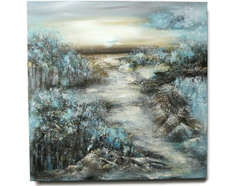 Abstract landscape painting, acrylic painting, structure, canvas on stretcher, hand painted, unique, original Elsa Weiss Bekolli, Blue Forest