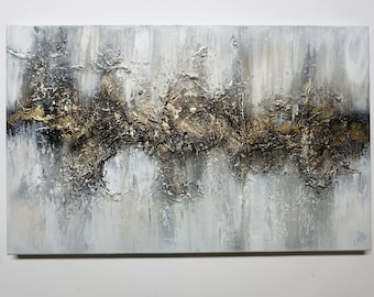 Abstract Painting, Structure Picture, Acrylic Painting, Golden Structure, Modern Art, Hand Painted, UNIKAT, Original Elsa Weiss Bekolli, Golden Way