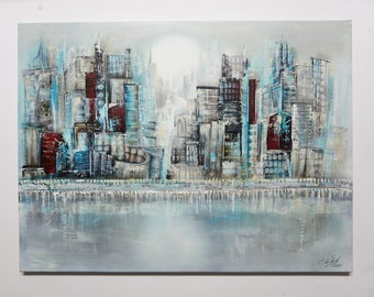 Acrylic painting / city hand painted on canvas / UNIKAT / Original Elsa White Bekolli / Big City / 80x60x2cm format