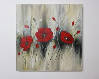 Poppies, Flowers Acrylic Painting, Acrylic Painting, Modern Flower Painting, Canvas on Stretcher, Hand Painted, Unique, Original Elsa Weiss Bekolli