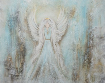 ENGEL Bild / ANGEL Painting / UNIKAT / Hand Painted / Original Elsa White Bekolli