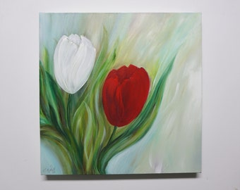 Canvas count tulips, modern flower art, acrylic painting, floral hand painted, unique, canvas on stretcher, original Elsa Weiss Bekolli