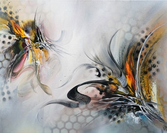 Abstract Painting, Acrylic Painting, Modern Art, Mixed Media, Canvas Abstract, Silver Hand Painted, Unique, Original Elsa Weiss Bekolli