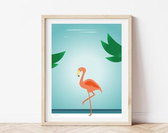 Pink flamingo print, animal wall art for kids (frame not included)