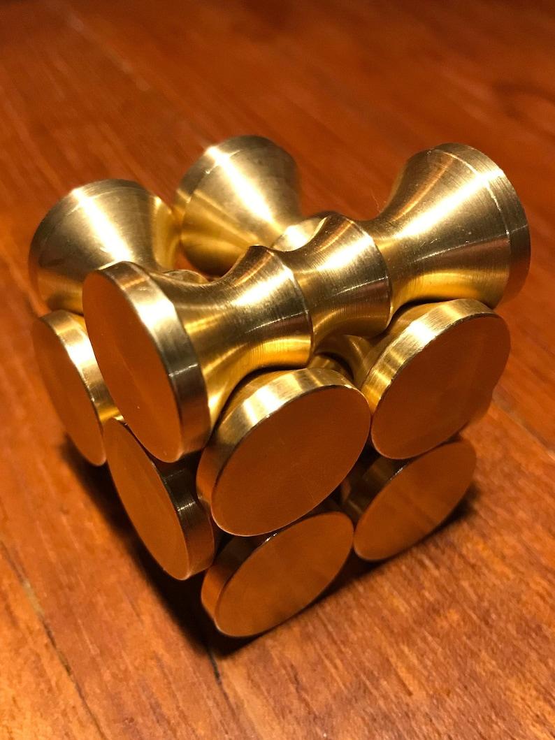 Hyperboloid Burr  6/7 Piece Brass Puzzle Design by Oskar image 0