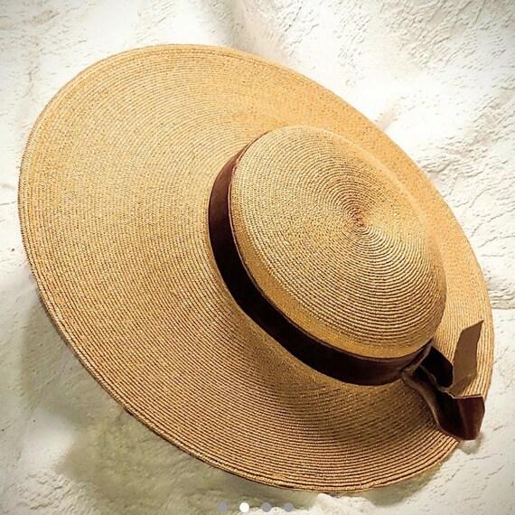Vintage 30s straw summer halo hat