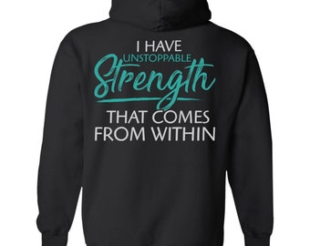 Viking, Norse, Gym t-shirt & apparel, I have unstoppable strength, Black hoodie, Back