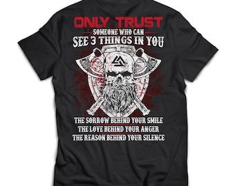 Viking, Norse, Gym t-shirt & apparel, Only trust black T-shirt for men, Back
