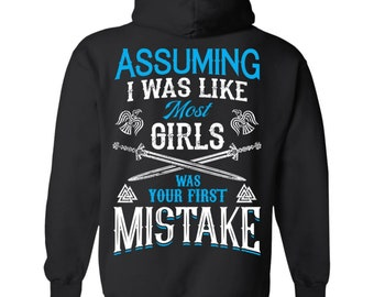Viking, Norse, Gym t-shirt & apparel, Your first mistake, Black hoodie, Back