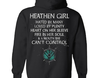 Viking, Norse, Gym t-shirt & apparel, H@#then girl, Black hoodie, Back