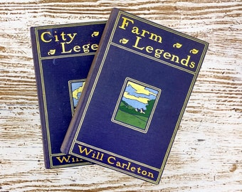 Farm Legends and City Legends, by Will Carleton, Navy Blue Covers, Beautiful Cover Art, Vintage Poetry Books, Free Shipping
