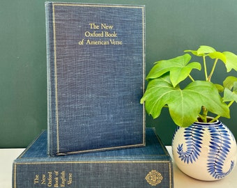 Oxford Books of English and American Verse, Vintage, Navy Blue Books, Gold Detailing, 1970s, Free Shipping