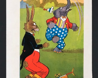 Vintage Uncle Wiggy Illustration, Original, Full Color, Heavy Paper, Uncle Wiggly's Adventures, 1940, 5 x 7, Free Shipping