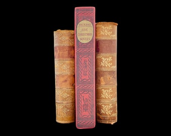 Five Christmas Novels by Charles Dickens, A Christmas Carol, The Cricket on the Hearth, The Haunted Man, 1939, Free Shipping