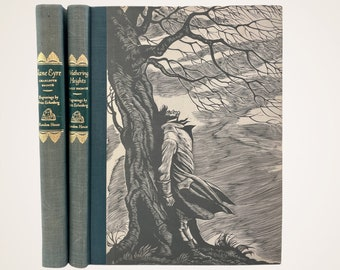 Jane Eyre & Wuthering Heights Boxed Set, Vintage 2 Vol. Set, Random House 1943, Illustrator Fritz Eichenberg, Bronte Sisters, Free Shipping
