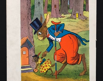 Vintage Children's Book Color Illustration, Heavy Paper, Uncle Wiggly's Travels, 1939, Ready to Frame, 5 x 7, Free Shipping