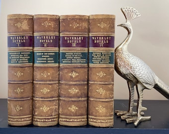 The Waverley Novels by Sir Walter Scott, 4 Volumes, Half-Bound Leather, Adam and Charles Black, 1867, Free Shipping