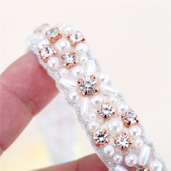 Bridal Crystal Rhinestone Applique Trims Craft On Wedding Dress Belt