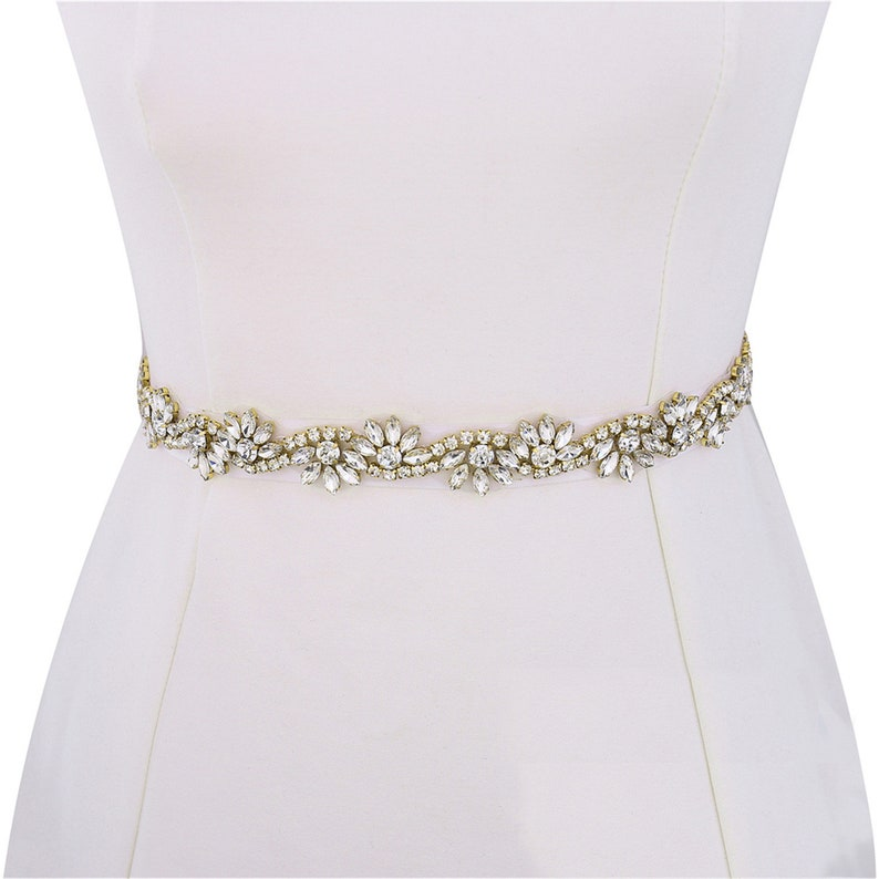 750f22d861 Thin Bridal Embellishment Rhinestone Appliques Belt Headband,1 Yard Gold  Flower Jewelry Beads Crystal Wedding Gown Straps Sew Iron on Trims