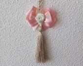 Light Beige Tassel,  Door Tassel, Tassel with Pink Bow, Furniture Tassel, Handmade Tassel