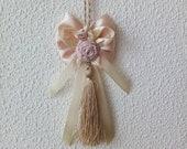 Tassel on Door Handle, Tassel on Furniture, Beige Tassel with Bow, Silk Tassel, Door Handle Decor, Decorative Tassel