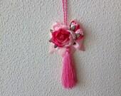 Pink Tassel for Door Handle, Furniture Tassel, Tassel with Pink Flower, Door Decor, Furniture Decoration