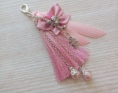 Keychain with Pink Tassel, Silver Decor, Accessory for Bag, Purse Tassel