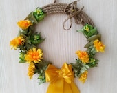 Home Decor, Yellow Wreath...