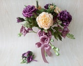 Wedding Bouquet Purple Roses, Purple Freesia, Ivory Roses, Bridal Bouquet, Artificial Wedding Flowers